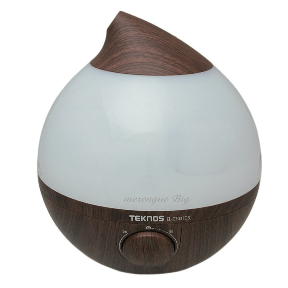 《水かなくなると LED ライトか消灯し、運転を停止します》TEKNOS 滴型超音波アロマ加湿器EL-C303(DB)メレンゲ3.6L木造4〜6畳・鉄筋6〜8畳相当