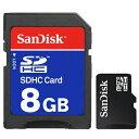 送料無料 ( メール便 ) 【8GB】 マイクロSDHCカード 信頼の SanDisk サンディスク製 SDアダプター付き スマホ特集!【 マイクロSDカード SDメモリーカード データ 保存 高品質 PC パソコン 】 送料込 ◇ microSDHC/8GB