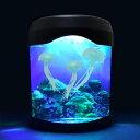 3匹のクラゲがゆらゆら泳ぐ 幻想的な癒しのインテリア 卓上水族館 3色のLEDライト 6パターン点灯 自動電源オフ USB電源 乾電池式【 インテリアライト アクアリウム ペット おもちゃ 癒しグッズ 】 ◇ くらげ水槽