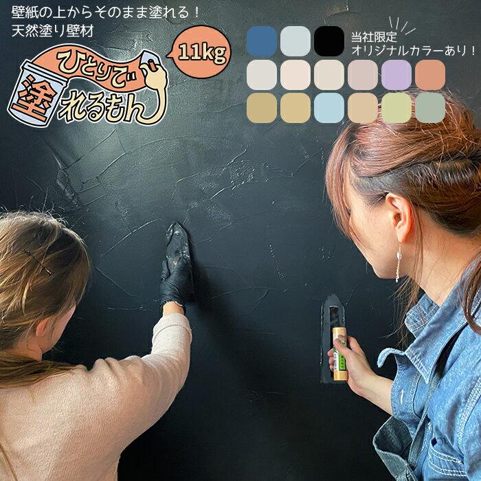 [ポイント5倍。9日20時から4時間限定]塗り壁 ひとりで塗れるもん 11kg[メーカー直送品] 漆喰風 天然素材 内装仕上げ 壁 土壁 簡単 不燃 子供 安心 安全 消臭 防カビ DIY ブラック ブルー ぬれるもん JQ