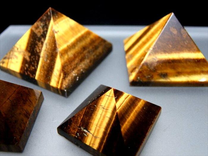 3A+【タイガーアイ ピラミッド置物】重さ 160-170g ピラミッドパワー 天然石ピラミッド置物 つやつやシャトヤンシー【南アフリカ】
