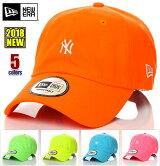 ニューエラキャップメンズレディース帽子NEWERACAPネオンローキャップニューヨークNYヤンキースベースボールキャップ無地ロゴサイズ調整式ユニセックスイエローオレンジピンクブルーグリーン
