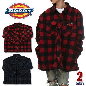 ディッキーズ ビッグサイズ シャツジャケット メンズ DICKIES フランネル シャツ ジャケット 大きいサイズ 特大 ビッグシルエット チェック柄 中綿キルティング 防寒ジャケット アウター 冬 USAモデル ブランド 赤 青 TJ202