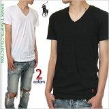 ラルフローレンVネックTシャツ半袖無地メンズPOLORALPHLAUREN大きいサイズブラックホワイト黒白アメカジスポーツB系ストリート系ヒップホップダンス衣装USAブランドファッション