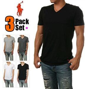 ラルフローレン Vネック Tシャツ メンズ POLO RALPH LAUREN 半袖 無地 Tシャツ 大きいサイズ ブラック ホワイト 黒 白 USA ブランド 3枚セット