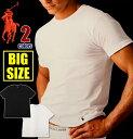 ラルフローレン Tシャツ メンズ 大きいサイズ POLO RALPH LAUREN 半袖 無地 クルーネック ビッグサイズ Tシャツ インナー アメカジ USA ブランド ファッション ホワイト 白 ブラック 黒 2枚セット XL 2XL 3XL 4XL