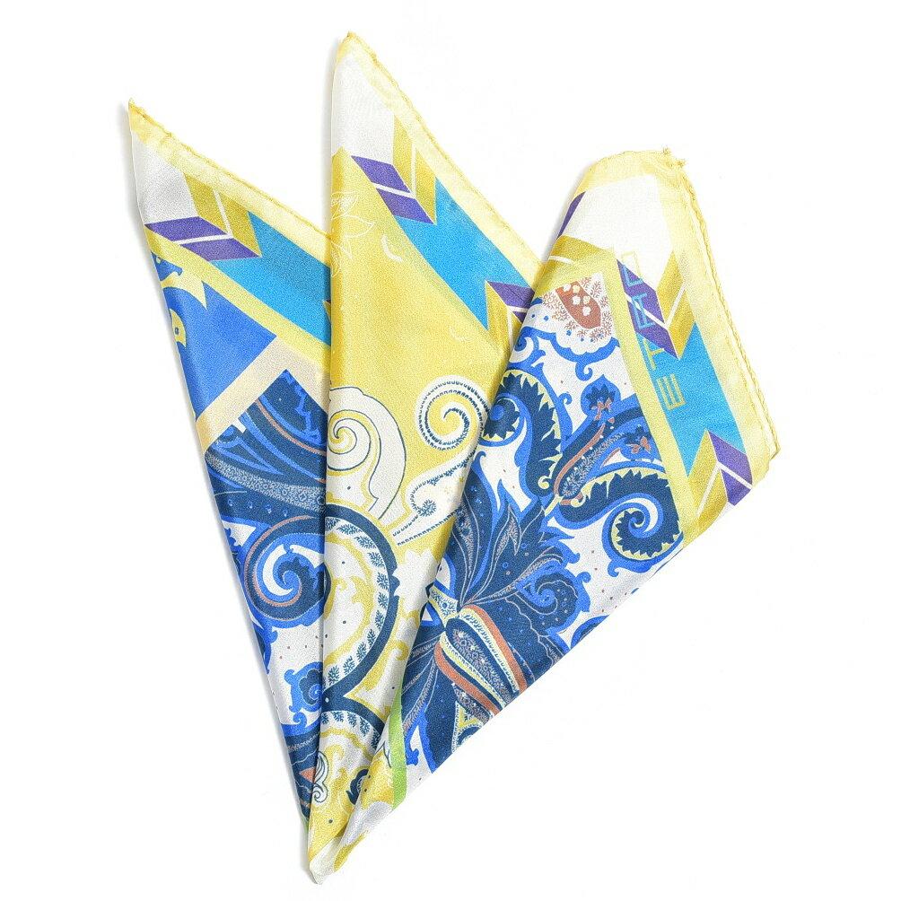 エトロ ETRO ポケットチーフ スクエア ハンカチ メンズ シルク 100% リーフ柄 イエロー ブルー イタリア ブランド イタリア製 ギフト 【半額以下】【お値段見直し】