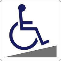 【車椅子スロープ】 ピクト 粘着シール 角丸ステッカー 約W150mmxH150mm