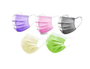 カラーマスク 不織布 5色つき不織布マスク50枚 使い捨て 個包装 3層構造 不織布 色つきマスク ホコリPM2.5 飛沫をブロック 5色セット