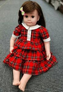 赤のチェックのワンピースももいろはなこ介護音声認識人形介護用人形話す人形おしゃべり着せ替え人形音声認識介護用人形着せ替え人形関西弁大阪弁女の子ドールセラピー子供カタログプレゼントシルバー用品母の日