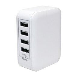 ミヨシ 大容量5V/6A出力対応 USB-ACアダプタ 4ポートタイプ ホワイト IPA-60U/WH