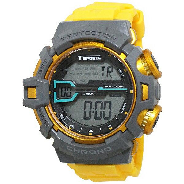 クレファー CREPHA  デジタル腕時計 T-SPORTS イエロー TS-D044-YW[スポーツ ファッション ウォッチ][3up]