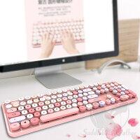 【2020最新型】ワイヤレスキーボードマウスセット2.4GUSBレシーバータイプライター風キーボードキーボードマウスセットレトロかわいい円形キーキャップ軽量オフィスゲーム誕生日プレゼントピンクブルー
