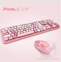 ワイヤレスキーボードマウスセット無線静音タイプライター風キーボードマウスセットUSBレシーバーレトロかわいいキーボード円形キーキャップ軽量オフィスゲーム誕生日プレゼントピンク