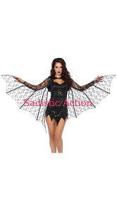【即納】Leg Avenue Lace Bat Wing Shrug 【Leg Avenue (ストッキング、ランジェリー、衣装、コスチューム、小物)】【ハロウィンコスチューム】【コスチュームアクセサリー】【その他】【LA-ACC-A2772】