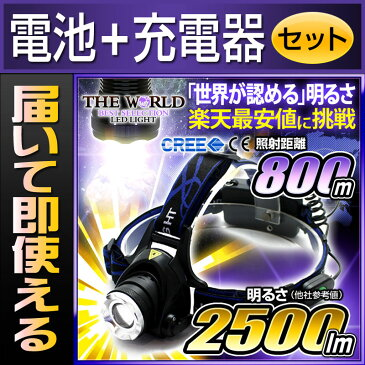 LEDヘッドライト ヘッドライト led ヘッドランプ 登山 懐中電灯 防水 防災 【電池・充電器セット】 【あす楽】
