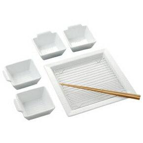 「ケデップ フライドディッシュプレート」 お皿セット【ケデップ 油切り K+dep キッチン 揚げ物 網付き ざるそば 四角い 食器 皿 小鉢 白】