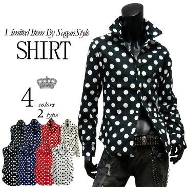 送料無料 ドットシャツ メンズ 長袖シャツ 全4色 新作 シャツ 新作 綿 コットン 国産 日本製 ホワイト 白 シャツ ドット 水玉 M L LL 3L アメカジ系 サロン系 7分袖シャツ 804032 og1 ksra30i