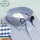 オックスフォードシャツ 綿100% オックスフォードBD 長袖 メンズワイシャツ CREW クルー ブルーチェック 青 ボタンダウン カッターシャツ 標準体型