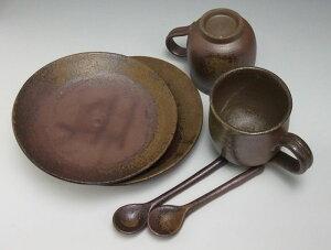 コーヒーセットコーヒーカップ珈琲碗皿ペアセット送料無料備前焼組珈琲セット(胡麻スプーン付