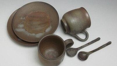 コーヒーセットコーヒーカップ珈琲碗皿ペアセット送料無料備前焼組珈琲セット(桟切)スプーン付