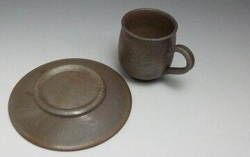 10P28oct13備前焼コーヒーセットコーヒーカップ珈琲碗皿ペアセット送料無料備前焼組珈琲セット(桟切)スプーン付