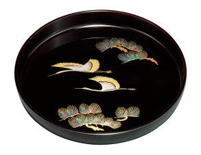 お盆トレートレイ丸盆記念品引出物11.0丸盆溜金鶴【ポイント10倍】