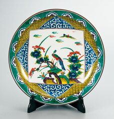 【ポイント10倍】皿大皿飾り皿置物陶器九谷焼12号飾皿古九谷風花鳥送料無料