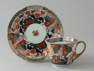 【ポイント5倍】コーヒーカップ有田焼陶器コーヒー碗皿有田焼菊割花紋珈琲碗皿(1客)