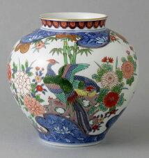 有田焼7寸明型花瓶波割花鳥送料無料Y233-W