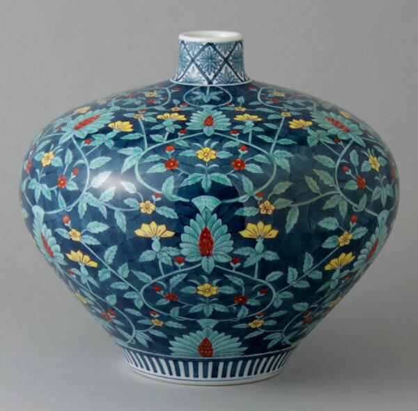 有田焼 そろばん型花瓶 染錦花紋 Y266-W