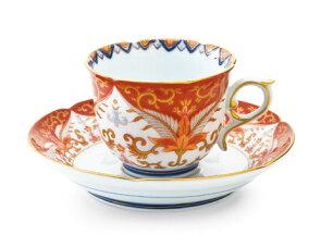 コーヒーカップソーサー珈琲碗皿陶器有田焼赤濃金彩唐草コーヒー碗皿【賞美堂其泉窯】【ポイント10倍】