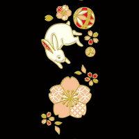【携帯シール:和雑貨】願いのつるし飾り跳【携帯シール:蒔絵シール:デコレーションシール:和柄:和小物:和風:縁起物:桜:さくら:うさぎ:ウサギ:まり:毬】