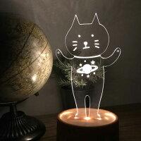 アクリスタLEDアクセサリースタンドネコ1(宇宙)【アクリルアクセサリースタンド:音感センサー内臓:揺れると光る:LED内蔵:ライト:USBケーブル付き:猫:ねこ:CAT:土星:インテリア小物】