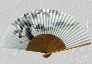 紙扇子 『 唐木 ( 松富士 ) 』【追跡可能メール便送料無料!】【 扇子 松 富士山 風景柄 和柄 紳士 男性用 メンズ 】