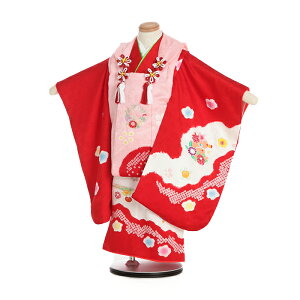 [Rental] Shichigosan 3-year-old girl 3036 pure silk pink / red tub squeezing embroidery hand-painted flower snow ring covered tabi present Free shipping Orthodox school
