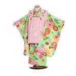 【レンタル】753七五三3068式部浪漫3歳ピンク×黄緑菊刺繍松に宝尽くし女の子被布足袋プレゼント子供往復送料無料