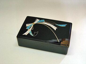 6.5寸 長角重箱 黒 友禅結び 【オードブル お正月 弁当 運動会 お花見】【日本製】【Made in Japan, Special price, Lacquered box, Lunch box, Celebration, Party, Picnic】*Domestic shipping only*