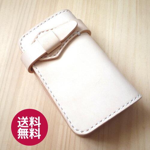 手縫いミドルウォレット ナチュラル ライダースウォレット バイカーズウォレット ヌメ革 ミドル 財布 メンズ 送料無料