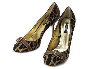 【送料無料】ドルチェ アンド ガッバーナ・ DOLCE & GABBANA・D&G・パンプス・靴・ヒョウ柄・茶系【中古】
