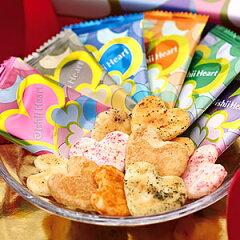 かわいいハートのカタチのおせんべい・個性豊かな6つの味わいハートのおせんべい【おいしいハー...