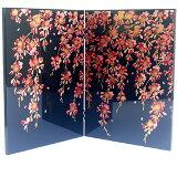 ミニ屏風 しだれ桜 (小) 天然木・カシュー塗 ギフト 伝統工芸 おみやげ 和風 日本らしい 土産