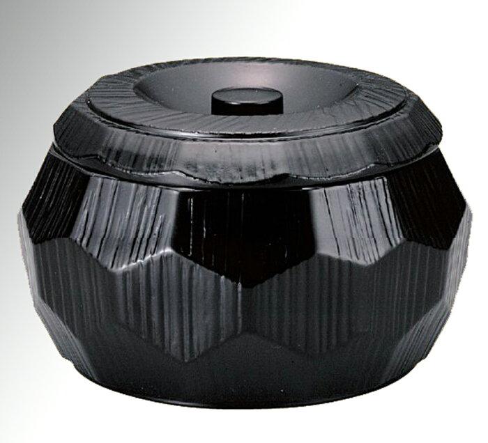 はつり亀甲彫飯器 (PP飯べら付き) 黒内黒【ひつまぶし】
