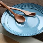 波佐見焼利左エ門窯BLUE彫8寸皿プレート青
