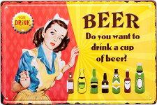 ブリキ看板アンティークエンボスプレートビア生ビールアメリカ雑貨CUPOFBEER