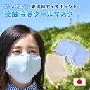 マスク日本製冷感クールマスク東洋紡アイスポイント立体ウォッシャブル2色大人男女兼用ウィルス対策花粉対策細菌飛沫感染夏用涼しいひんやり涼しいマスク花粉無地