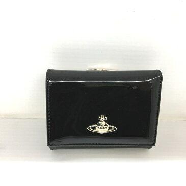 【中古】ヴィヴィアンウエストウッド 二つ折り財布 がま口 エナメル ブラック[jggZ]