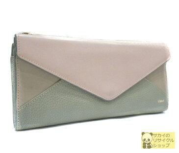 Chloe パッチワーク 二つ折り長財布 レザー ピンク系×グレー系 3P0203【中古】