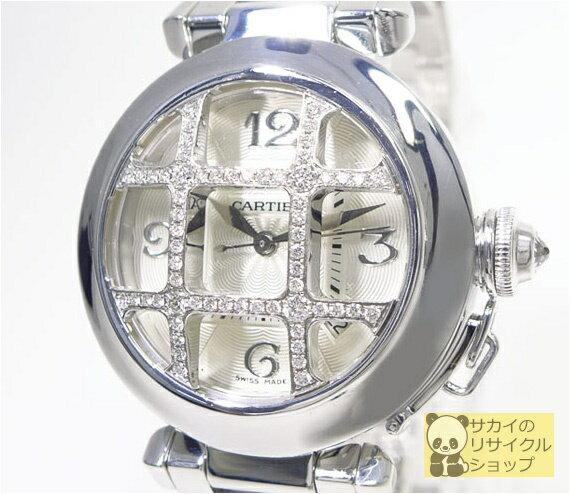 Cartier パシャ32mm ダイヤコンベックスグリッド K18WG/750 自動巻き ホワイトゴールド ホワイトギョーシェ文字盤 パヴェダイヤモンド 裏スケルトン【中古】