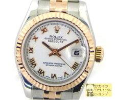 【送料無料】ロレックスデイトジャストRef179171D番SS/PG自動巻きホワイト文字盤上品なレディース腕時計♪【中古】【レディース】【Watch】